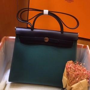 Hermes Herbag Zip 31cm Bag In Navy And Green