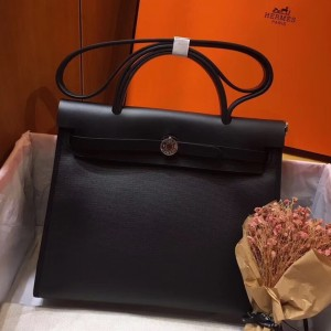 Hermes Herbag Zip 31cm Bag In Black Leather And Toile