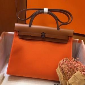 Hermes Herbag Zip 31cm Bag In Brown And Orange