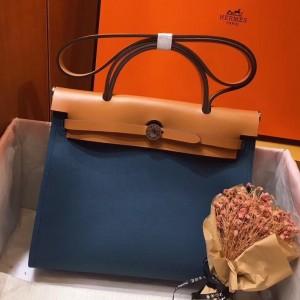 Hermes Herbag Zip 31cm Bag In Brown And Blue