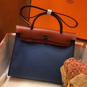 Hermes Herbag Zip 31cm Bag In Camel And Blue