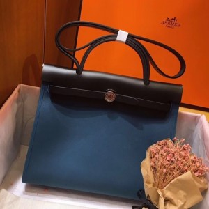 Hermes Herbag Zip 31cm Bag In Black And Blue