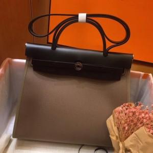 Hermes Herbag Zip 31cm Bag In Black And Taupe