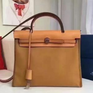 Hermes Herbag Zip PM 31cm Bag In Caramel Canvas