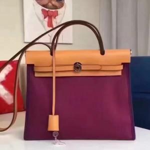 Hermes Herbag Zip PM 31cm Bag In Fuchsia Canvas