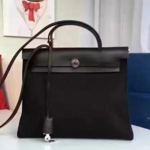 Hermes Herbag Zip PM 31cm Bag In Black Canvas