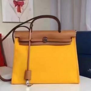 Hermes Herbag Zip PM 31cm Bag In Yellow Canvas