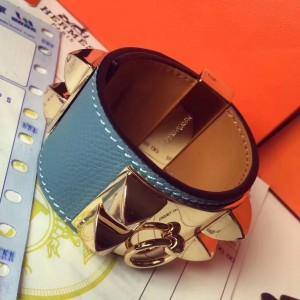 Hermes Blue Jean Epsom Collier de Chien Bracelet Size S