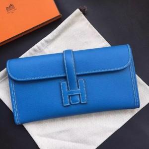 Hermes Blue Epsom Jige Elan 29 Clutch Bag