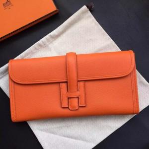 Hermes Orange Epsom Jige Elan 29 Clutch Bag