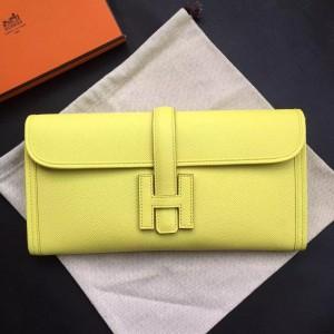 Hermes Yellow Epsom Jige Elan 29 Clutch Bag