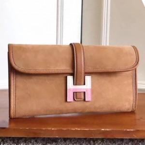 Hermes Ocre Suede Jige Elan 29 Clutch Bag