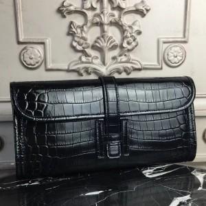 Hermes Jige Elan 29 Clutch In Black Crocodile Leather
