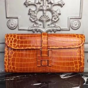 Hermes Jige Elan 29 Clutch In Orange Crocodile Leather