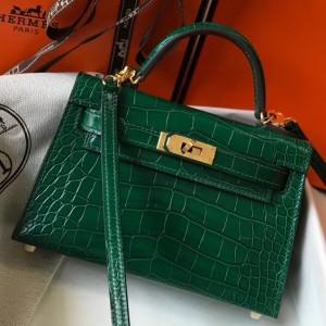 Hermes Kelly Mini II Bag In Green Crocodile Embossed Leather
