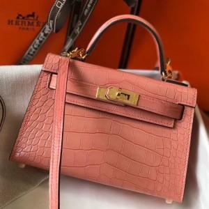 Hermes Kelly Mini II Bag In Pink Crocodile Embossed Leather