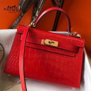Hermes Kelly Mini II Bag In Red Crocodile Embossed Leather