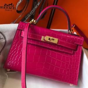 Hermes Kelly Mini II Bag In Rose Red Crocodile Embossed Leather