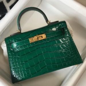 Hermes Kelly Mini II Bag In Green Embossed Crocodile Calfskin