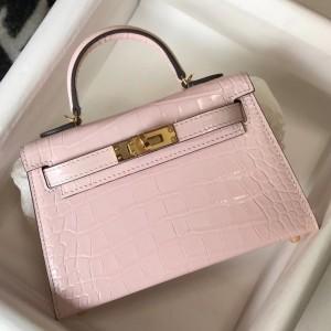 Hermes Kelly Mini II Bag In Rose Dragee Embossed Crocodile Calfskin