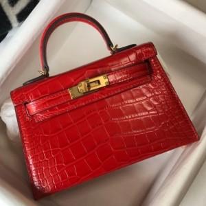 Hermes Kelly Mini II Bag In Red Embossed Crocodile Calfskin