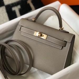 Hermes Kelly Mini II Bag In Gris Asphalt Epsom Leather