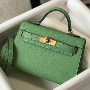 Hermes Kelly Mini II Bag In Vert Criquet Epsom Leather