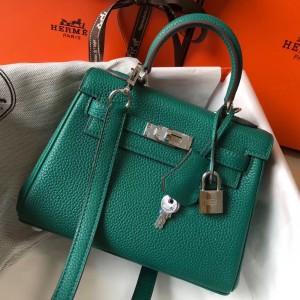 Hermes Mini Kelly 20cm Bag In Malachite Clemence Leather