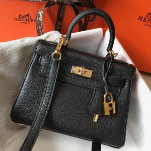 Hermes Mini Kelly 20cm Bag In Black Clemence Leather