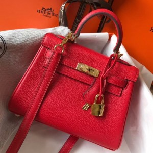 Hermes Mini Kelly 20cm Bag In Red Clemence Leather