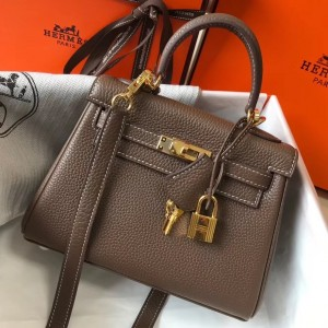 Hermes Mini Kelly 20cm Bag In Taupe Clemence Leather
