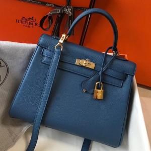 Hermes Kelly 25cm Retourne Bag In Agate Blue Clemence Leather