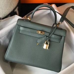 Hermes Kelly 25cm Retourne Bag In Vert Amande Clemence Leather
