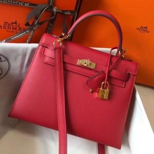 Hermes Kelly 25cm Sellier Bag In Red Epsom Leather