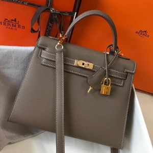 Hermes Kelly 25cm Sellier Bag In Taupe Epsom Leather