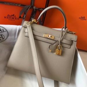 Hermes Kelly 25cm Sellier Bag In Tourterelle Epsom Leather