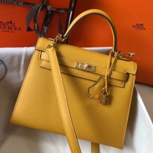 Hermes Kelly 25cm Sellier Bag In Yellow Epsom Leather