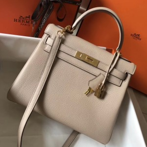 Hermes Kelly 28cm Retourne Bag In Argile Clemence Leather