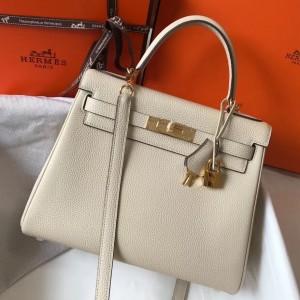 Hermes Kelly 28cm Retourne Bag In Beton Clemence Leather
