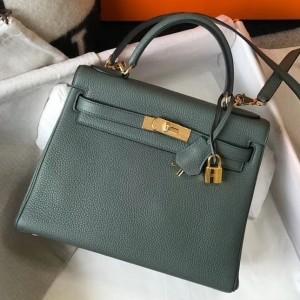 Hermes Vert Amande Clemence Kelly 28cm Bag GHW