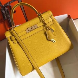 Hermes Kelly 28cm Retourne Bag In Soleil Clemence Leather