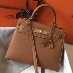 Hermes Kelly 28cm Sellier Bag In Brown Epsom Leather
