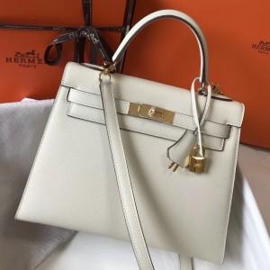Hermes Kelly 28cm Sellier Bag In White Epsom Leather
