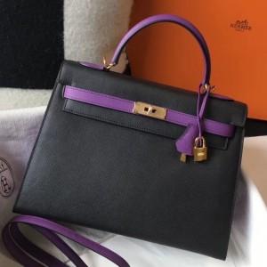 Hermes Bi-color Kelly 32cm Epsom Bag Black/Purple GHW