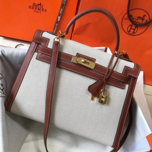 Hermes Kelly 32cm Sellier Bag In Canvas With Barenia Leather