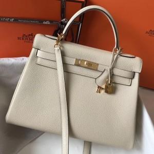 Hermes Kelly 32cm Retourne Bag In Beton Clemence Leather