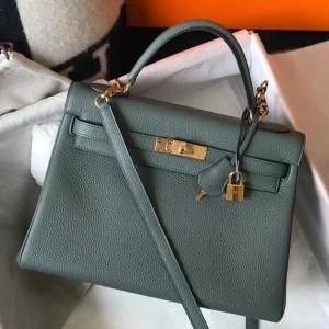 Hermes Vert Amande Clemence Kelly 32cm Retourne Bag