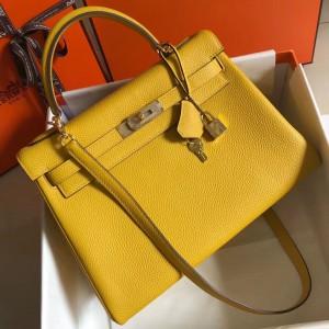 Hermes Kelly 32cm Retourne Bag In Soleil Clemence Leather