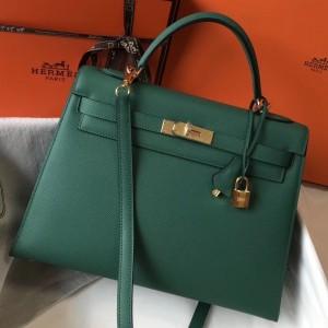 Hermes Malachite Epsom Kelly 32cm Sellier Bag