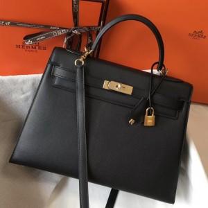Hermes Black Epsom Kelly 32cm Sellier Bag